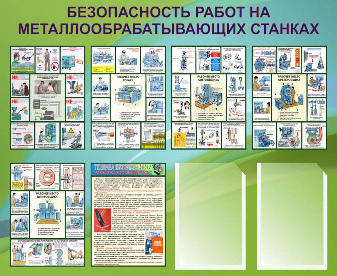 Стенд Безопасность работ на металлообрабатывающих станках, 900х1100мм